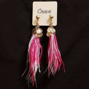 Disk & Bead Pink & White Feather Tassel Earrings